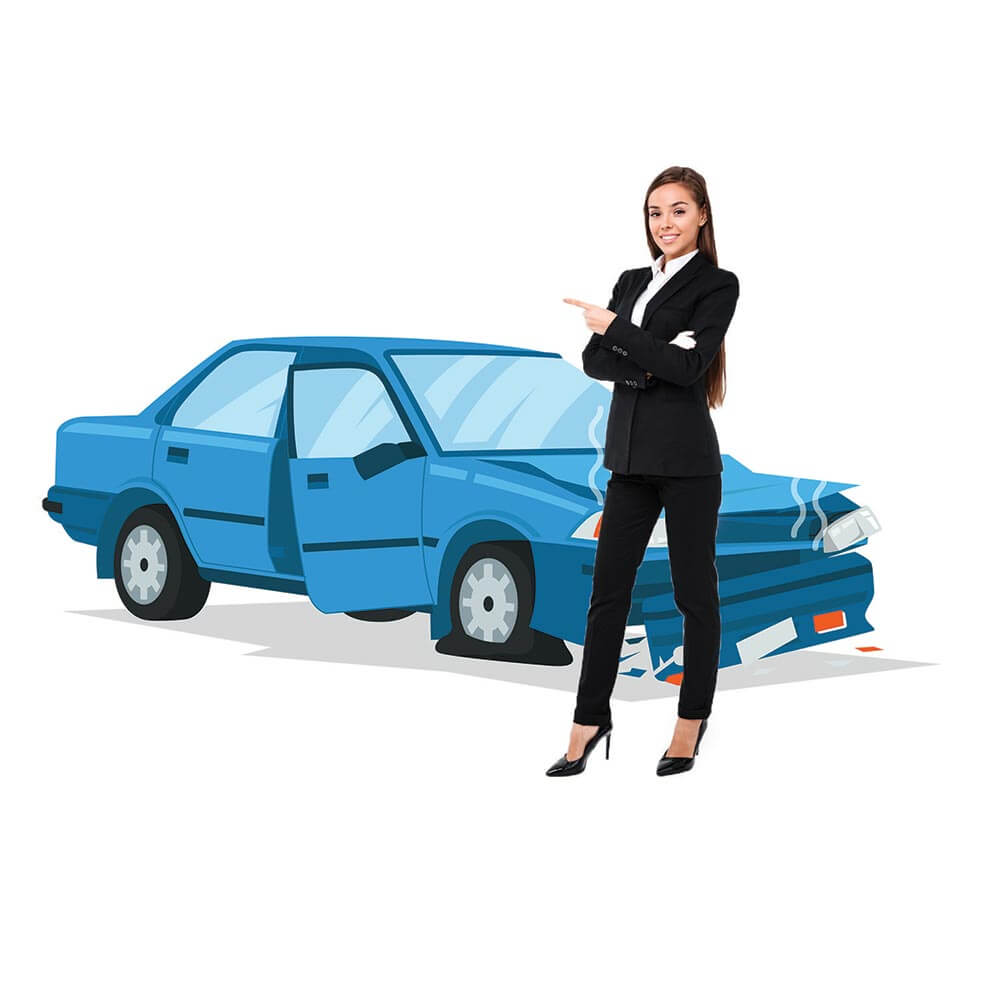 woman with junk car in the background